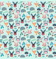 forest seamless pattern with cute animals fox vector image vector image