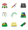 Fun in yard icons set cartoon style vector image vector image