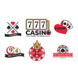gambling poster casino and poker logotypes on vector image