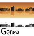 Geneva skyline in orange background vector image vector image