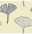 Ginkgo seamless interior wallpaper in retro style vector image vector image