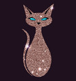 gold rose cat with blue eyes vector image vector image