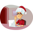 grannie saluting family on christmas video call vector image vector image