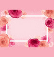 greeting card with roses on pastel pink background vector image