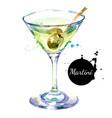 hand drawn sketch watercolor cocktail martini vector image
