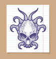 hand sketched monsters skull with horns vector image