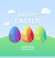happy easter card with a lettering paper cut eggs vector image vector image