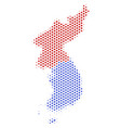 honeycomb north and south korea map vector image vector image