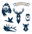 Hunting sport club animals icons vector image