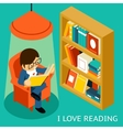I love reading 3d isometric vector image vector image