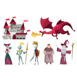 icons set medieval kingdom characters isolated vector image