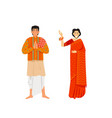 indian man and woman wearing traditional clothing vector image vector image