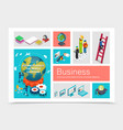 isometric business elements set vector image