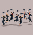 isometrics graduates girls and boys jump academ vector image