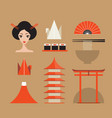 japan icons set asia design elements collection vector image