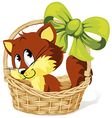 kitty in basket vector image vector image
