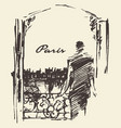man paris skyline window sketch vector image