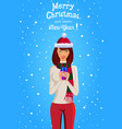 merry christmas and happy new year card of cute vector image