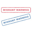 migrant warning textile stamps vector image vector image