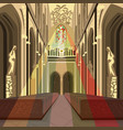 multicolor sun rays from stained glass in church vector image