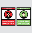 no face mask entry to protect from covid-19 vector image vector image