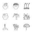 park plants icons set outline style vector image vector image