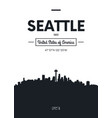 poster city skyline seattle flat style vector image vector image