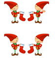 Red Elf Holding Stocking vector image vector image