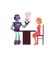 robot working as waiter holding tray serving tea vector image