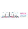 seoul city background skyline south korea view vector image vector image