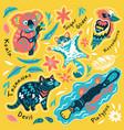 set decorative australian animals stickers vector image vector image