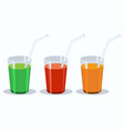set of fresh vegetable juices green red vector image vector image