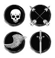 set of tattoo drawings in black and white vector image