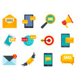 sms marketing icons set flat style vector image vector image