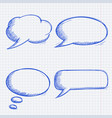 speech bubbles doodles set on lined paper vector image vector image