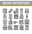 sport nutrition cells thin line icons set vector image