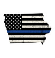state iowa police support flag vector image vector image