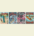 surfing vintage colorful posters set vector image vector image