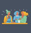 three woman talk at table vector image vector image