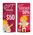valentine s day gift voucher vertical vector image