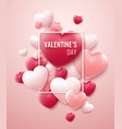 valentines day background with red pink hearts vector image vector image
