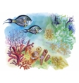 Watercolor Marine life background with Tropical vector image vector image