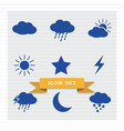 weather icon set flat style vector image vector image
