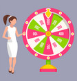 win jackpot lady spinning roulette casino vector image vector image