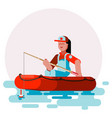 woman in boat try to cach a fish vector image