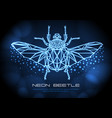 abstract neon polygonal triangle goliath beetle vector image