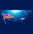 american flag waving in blue sky vector image vector image