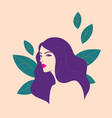 beautiful woman with floral elements vector image vector image