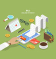 bills online payment flat isometric concept vector image vector image