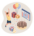 birthday party isolated concept with colourful vector image vector image